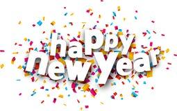 Paper happy new year confetti sign. Stock Photo