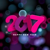 Happy New Year 2017. In papercut style text,  illustration on blurred background Stock Photography