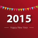 Paper 2015 Happy New Year with red background. Vector illustration Stock Images