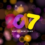 Happy New Year, 2017. Happy New Year 2017 in transparent style text,  illustration on blurred background Stock Photo
