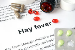 Paper with Hay fever  and pills. Royalty Free Stock Images