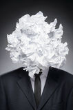 Paper head. Portrait of business person with his head covered wi Royalty Free Stock Images
