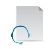 Paper and headphones illustration design Stock Photo