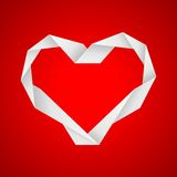 Paper heart. Valentine paper heart on the red background Royalty Free Stock Image