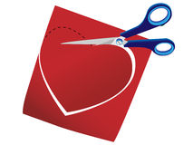Paper heart. Scissors cut a background from a paper heart in a Royalty Free Stock Photo