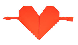 Paper heart. Red paper heart with arrow Royalty Free Stock Image