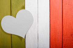 Paper heart on a background of old painted boards in the style o Stock Image