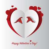 Paper heart with birds. Valentine card. Vector Royalty Free Stock Photos