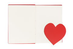 Free Paper Heart Bookmark On Blank Open Book Isolated On White Royalty Free Stock Photo - 85153905