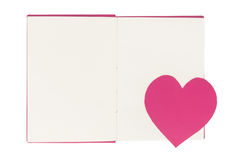 Free Paper Heart Bookmark On Blank Open Book Isolated On White Stock Image - 85191931