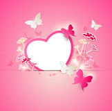 Paper heart and butterflies Royalty Free Stock Images