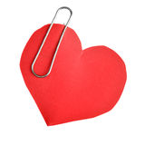 Paper heart with clip. Paper red heart with clip isolated over white background Royalty Free Stock Photos