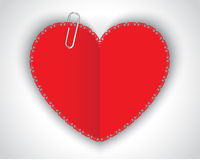 Paper heart and clip Royalty Free Stock Photos