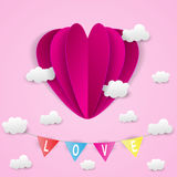 Paper heart and cloud texture on pink background Royalty Free Stock Image