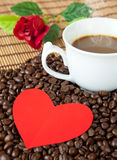 Paper heart and coffee Royalty Free Stock Image