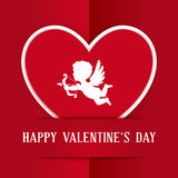 Paper Heart with Cupid Royalty Free Stock Image