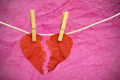 Paper Heart divided into two parts Stock Photography