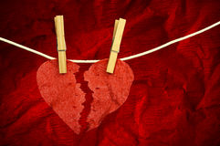 Paper Heart divided into two parts Stock Image