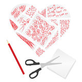 Paper heart with doodles Royalty Free Stock Photo