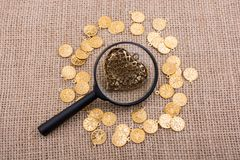 Paper heart with fake coins around it Stock Image
