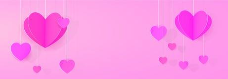 Paper heart festoon banner. Paper heart shaped festoon empty banner background Stock Photos