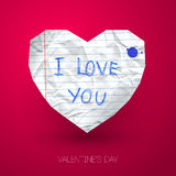Paper heart with handwritten message on pink Stock Image