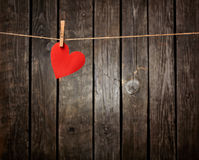 Paper heart hang on clothesline Royalty Free Stock Photos