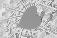 Paper heart and hundred dollar bills. For background Royalty Free Stock Photo