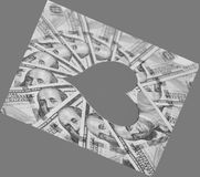 Paper heart and hundred dollar bills Royalty Free Stock Photo