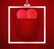 Paper heart in knitted pocket vector illustration