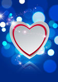 Paper Heart on Lights Bokeh Blue Background Stock Photography