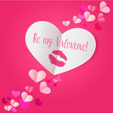 Paper heart with lipstick kiss print on dark pink background Stock Photos