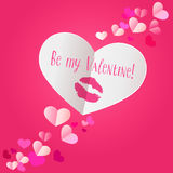 Paper heart with lipstick kiss print on dark pink background. be Stock Image