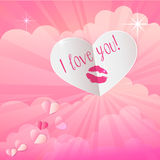 Paper heart with lipstick kiss print on pink background with clo Stock Photo