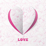 Paper Heart Love Card on Flower Background. Template for design Royalty Free Stock Image