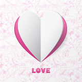 Paper Heart Love Card on Flower Background. Template for design Royalty Free Stock Images