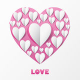 Paper Heart Love Card. Template for design greeting card, weddin Stock Image