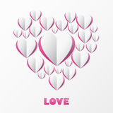 Paper Heart Love Card. Template for design greeting card, weddin Stock Photos