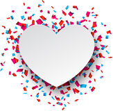 Paper heart love confetti sign. Stock Photos