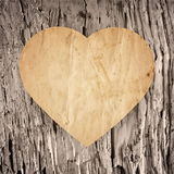 Paper heart on the old wood background Stock Photo