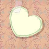 Paper heart over old wallpaper Royalty Free Stock Images