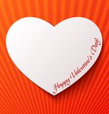 Paper heart over red background Royalty Free Stock Photography