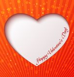 Paper heart over red background Stock Photos