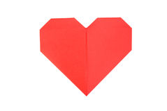 Paper heart over white background. Red paper heart on a white background Stock Image