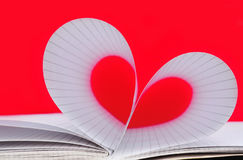 Paper heart. On red background Royalty Free Stock Photography
