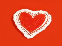 Paper heart on red background royalty free stock photography
