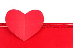 Paper heart with red border Stock Image