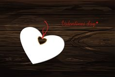 Paper heart with a red bow and ribbon. Valentine`s Day. Greeting. Card. Empty space for your ad or inscriptions. Vector illustration on a wooden background Royalty Free Stock Photos