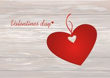 Paper heart with a red bow and ribbon. Valentine`s Day. Greeting. Card. Empty space for your ad or inscriptions. Vector illustration on a wooden background Stock Photo