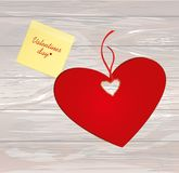 Paper heart with a red bow and ribbon. Yellow sheet of paper for. Notes. Sticker with word i love you. Valentine`s Day. Greeting card. Vector illustration on a Royalty Free Stock Photo